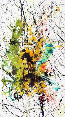 Action Painting en yellow & green 80 cm x 140 cm